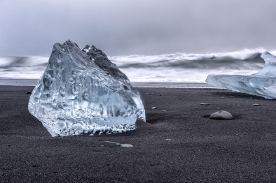 Icebergs on black beach at Jökulsárlón Glacier lagoon, Iceland