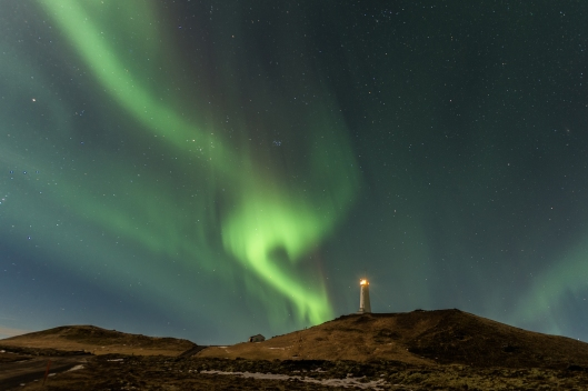 Northern Lights over the Reykjanesviti Lighthouse, Reykjanes Peninsula, Iceland
